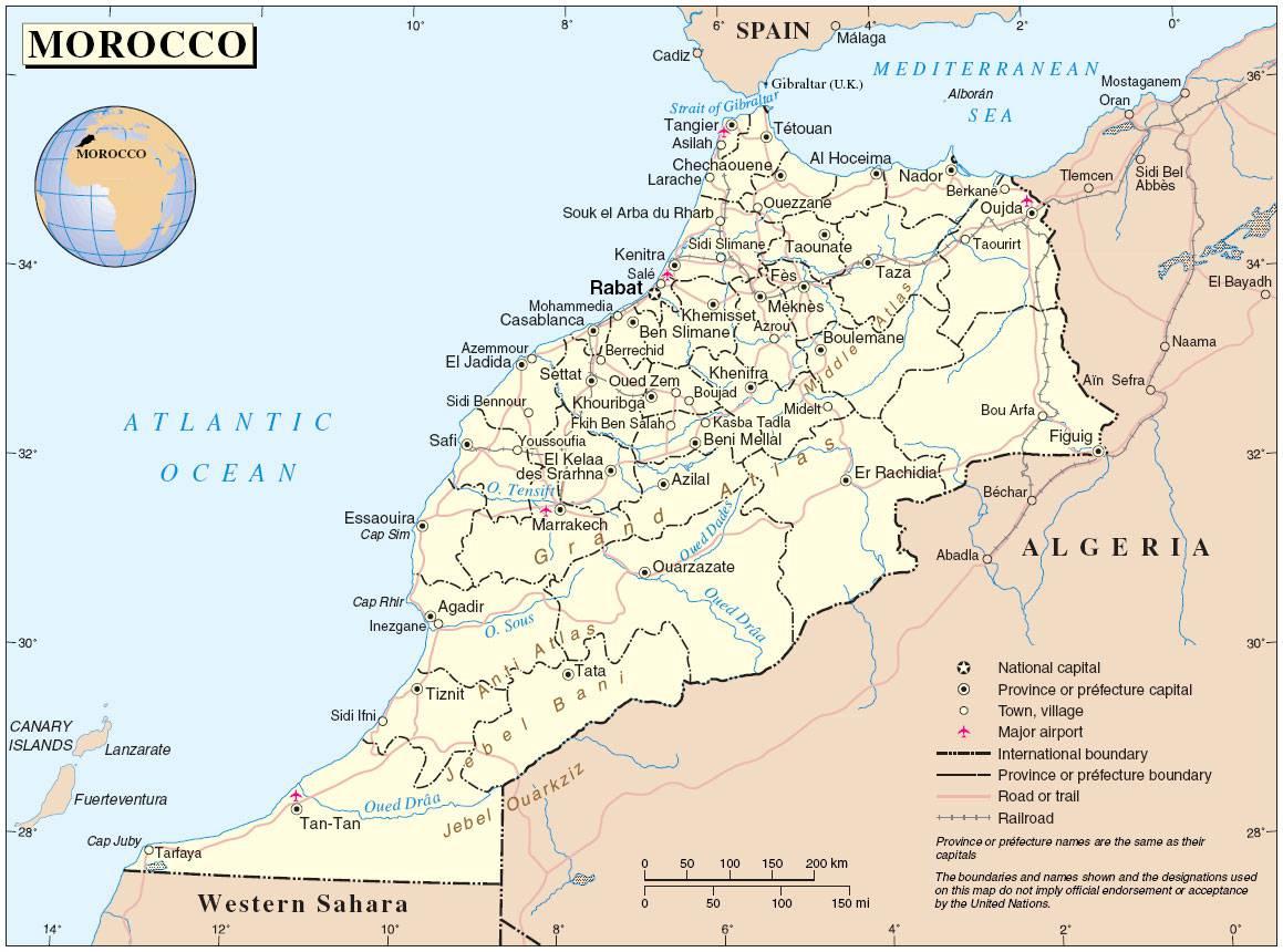 Carte politique du Maroc