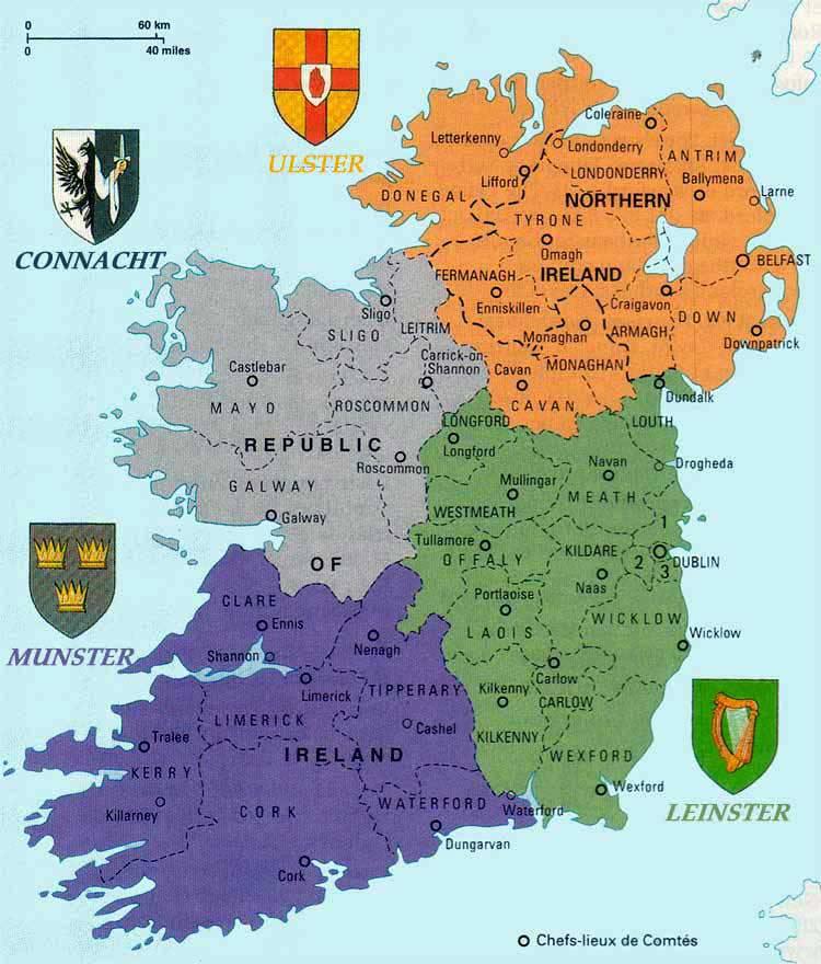 Carte des provinces en Irlande