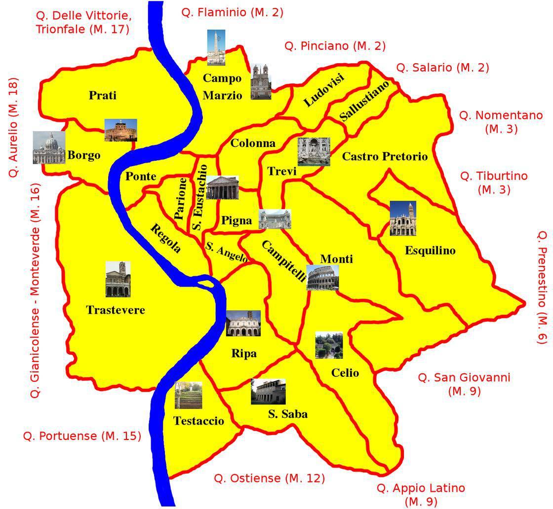 Carte Des Quartiers De Rome