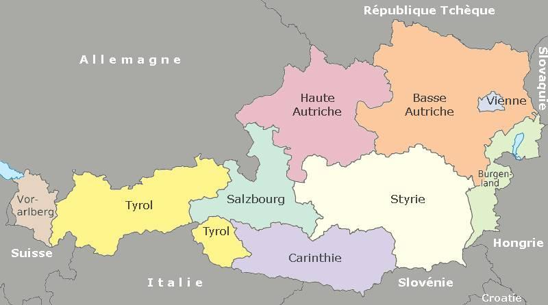 Carte des régions en Autriche