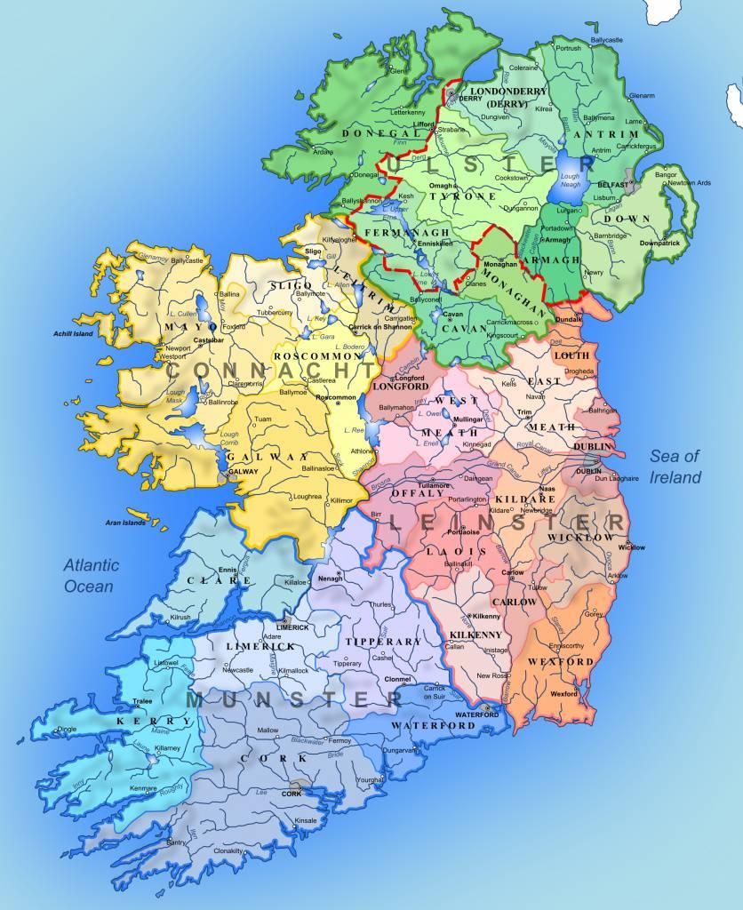 Carte des régions de l'Irlande