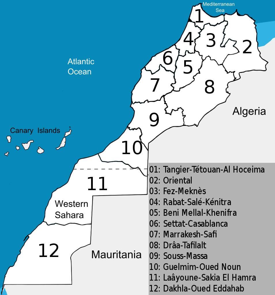 Carte des régions du Maroc