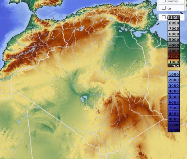 Carte du relief de l'Algérie
