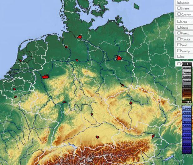 Carte du relief en Allemagne