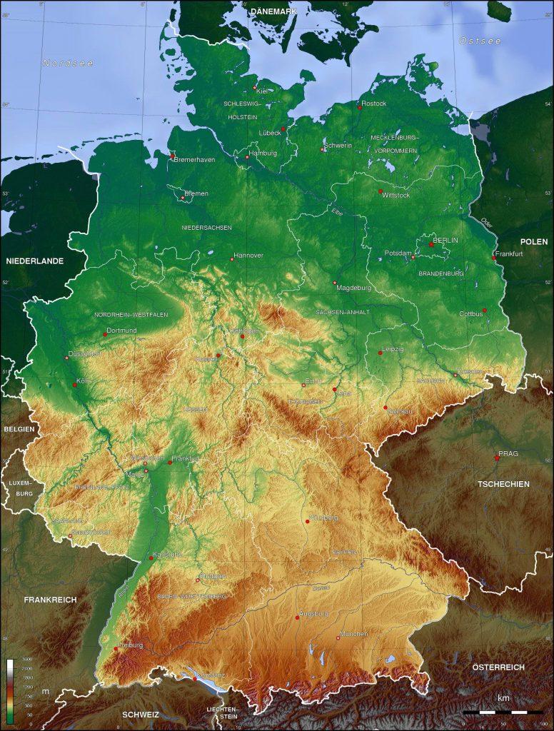 Carte du relief de l'Allemagne