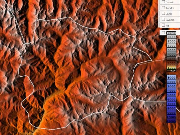 Carte du relief de l'Andorre