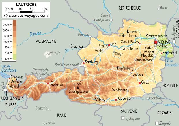 Carte du relief en Autriche