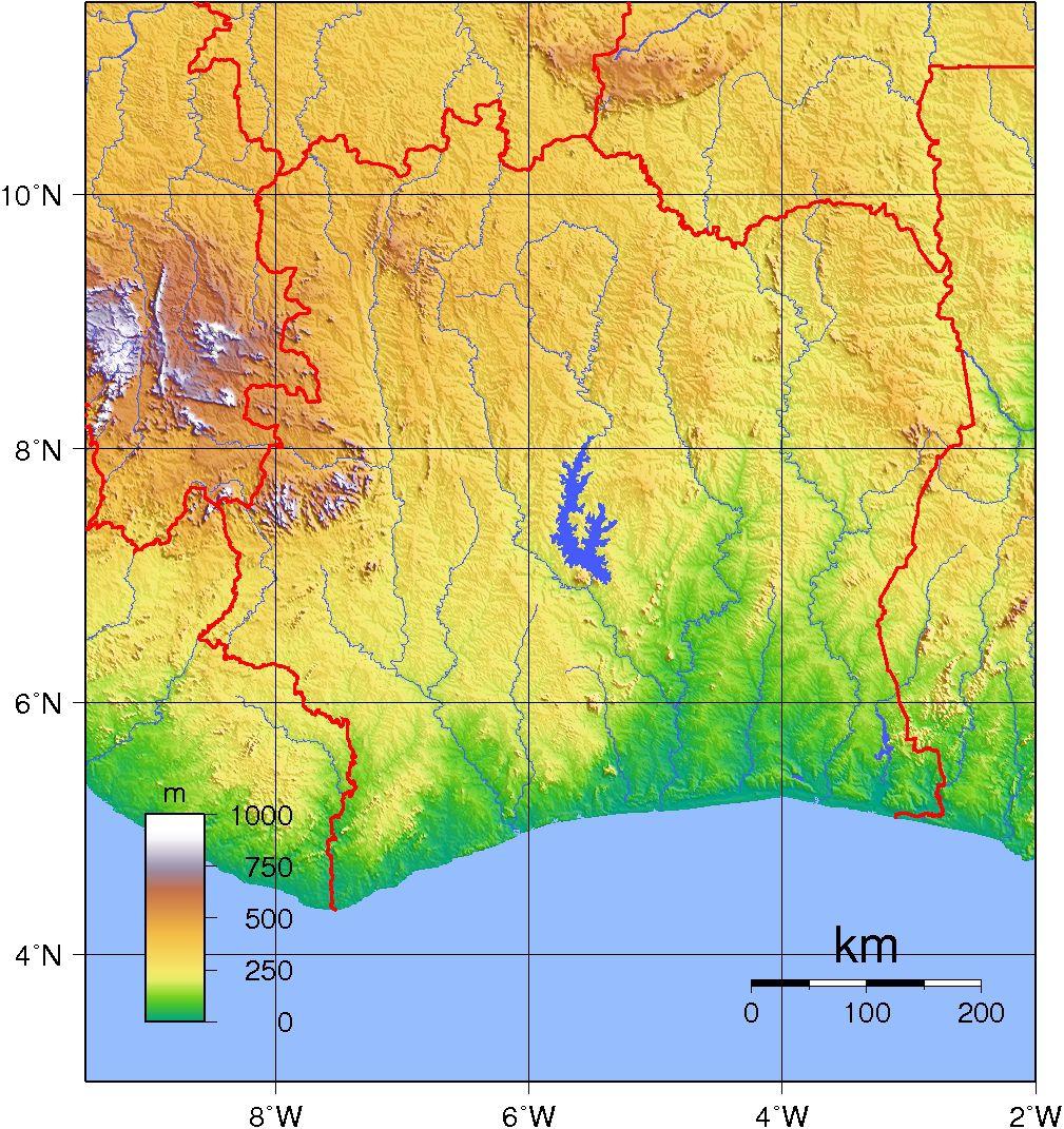 Carte du relief de la Côte d'Ivoire