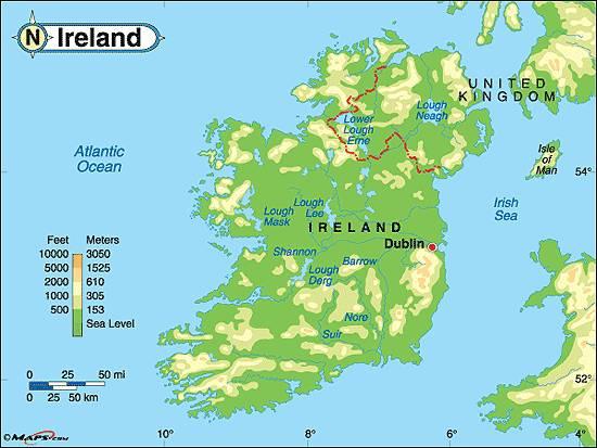 Carte du relief de l'Irlande