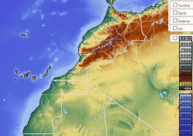 Carte du relief du Maroc