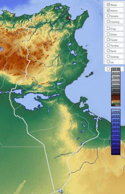 Carte du relief de la Tunisie
