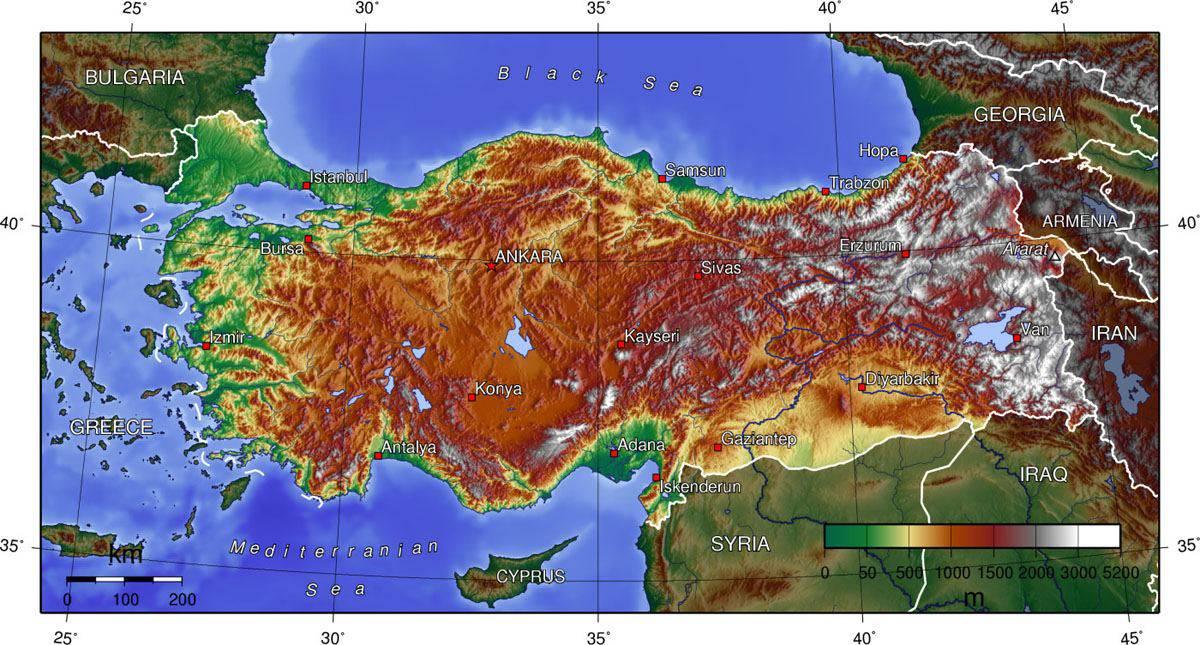 Carte des reliefs en Turquie