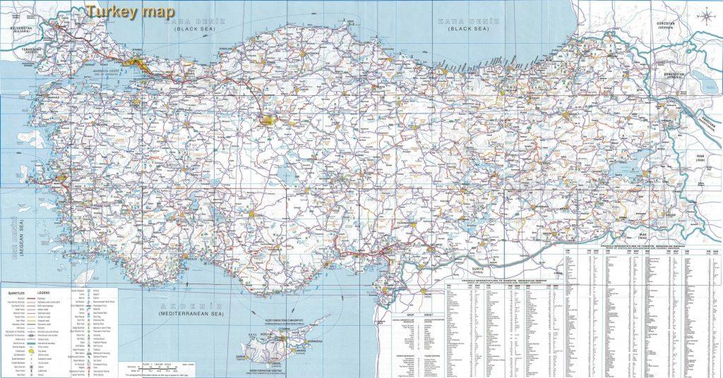 Carte des routes en Turquie