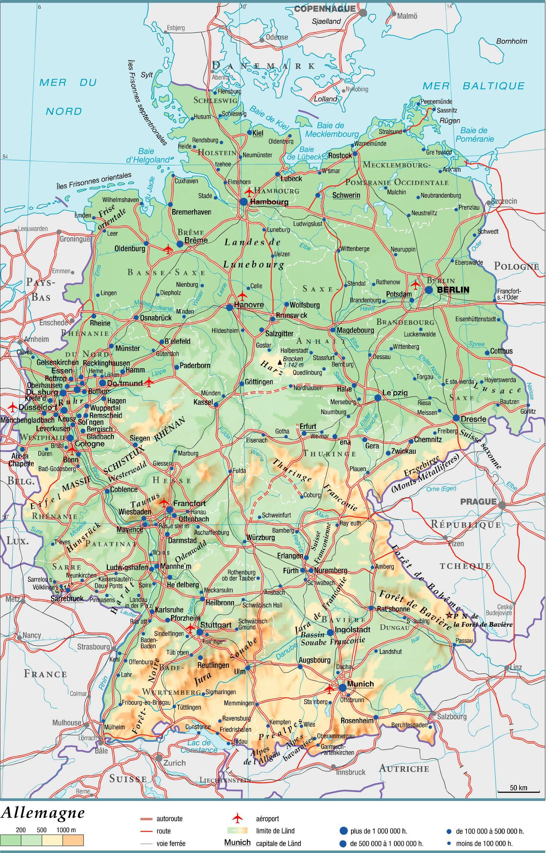 Carte routière de l'Allemagne