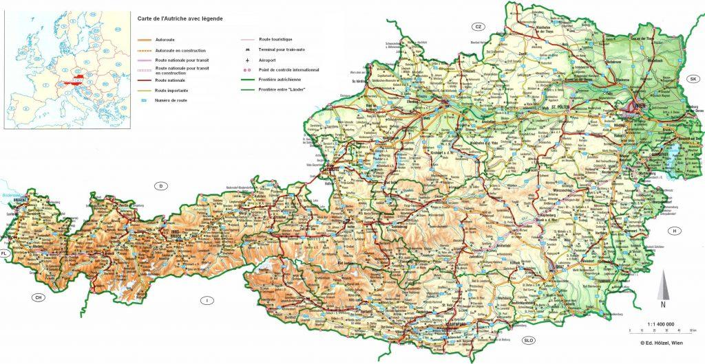Carte routière de l'Autriche