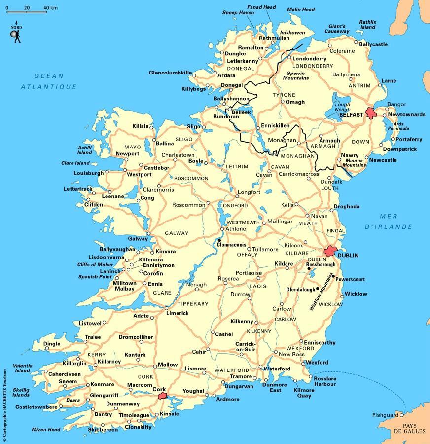 Carte routière de l'Irlande