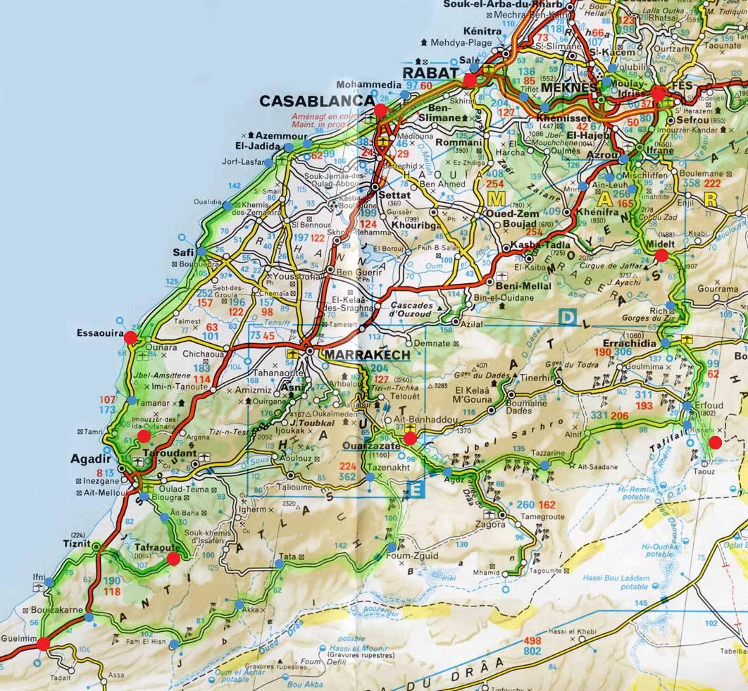 Carte du Maroc   Carte routière, des villes , des régions