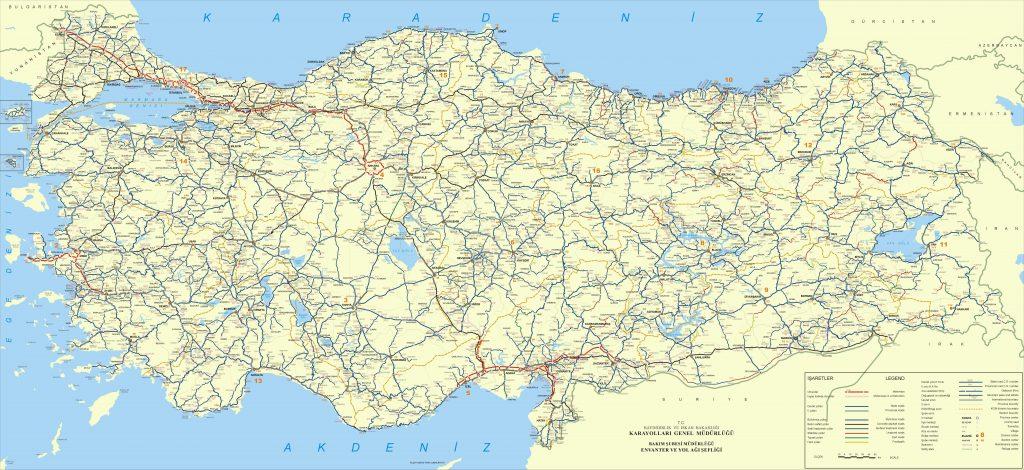 Carte routière en Turquie