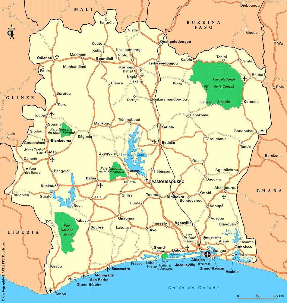 Carte routière de la Côte d'Ivoire