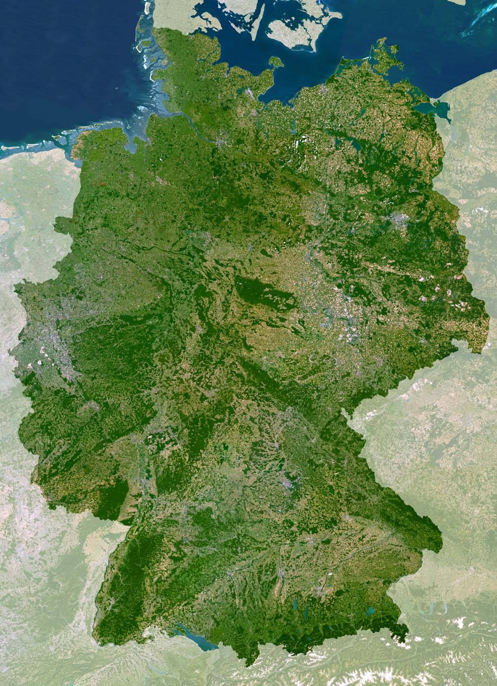 Carte satellite de l'Allemagne
