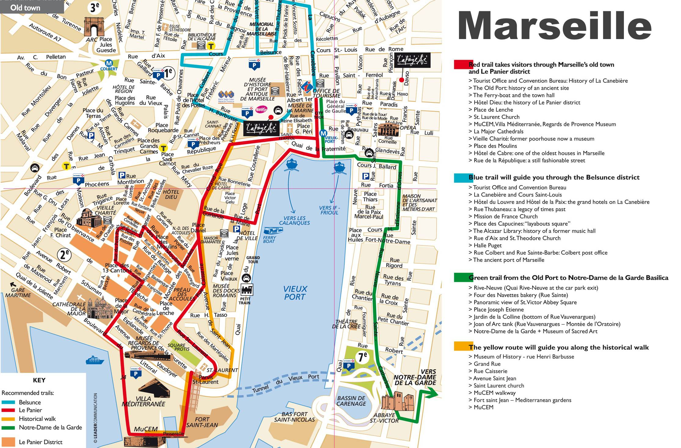 Carte des sites de tourisme à Marseille