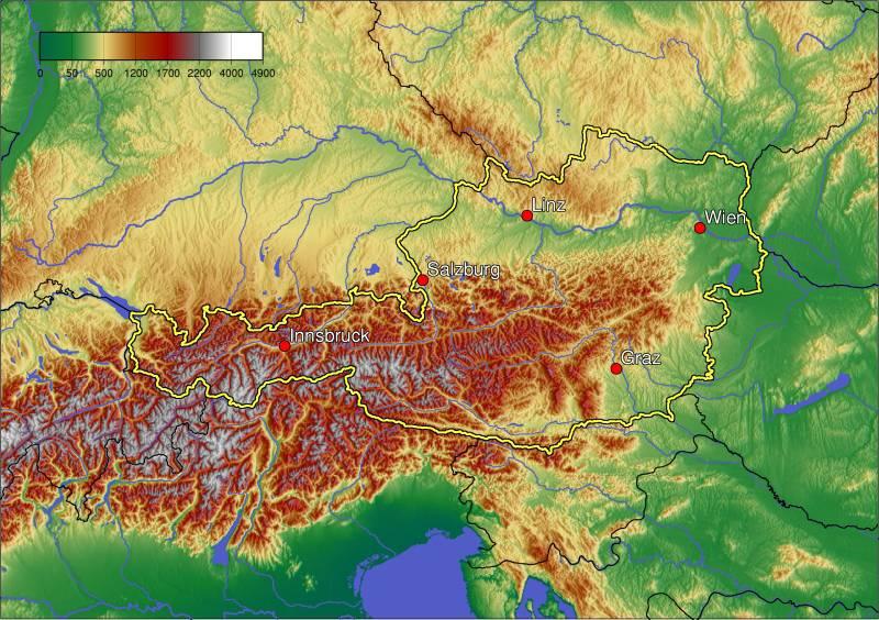 Carte topographique de l'Autriche