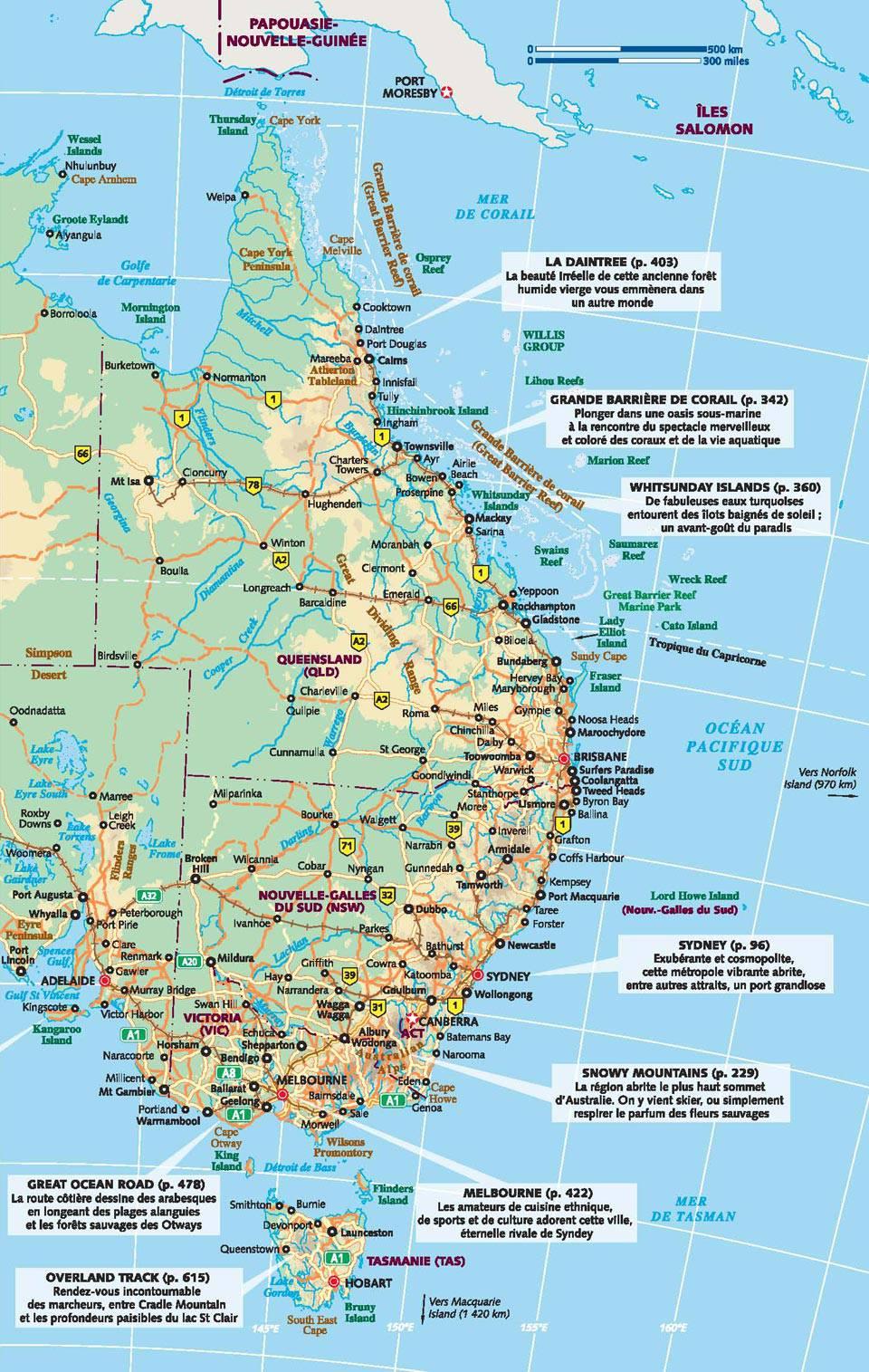 Carte touristique de la côte ouest de l'Australie