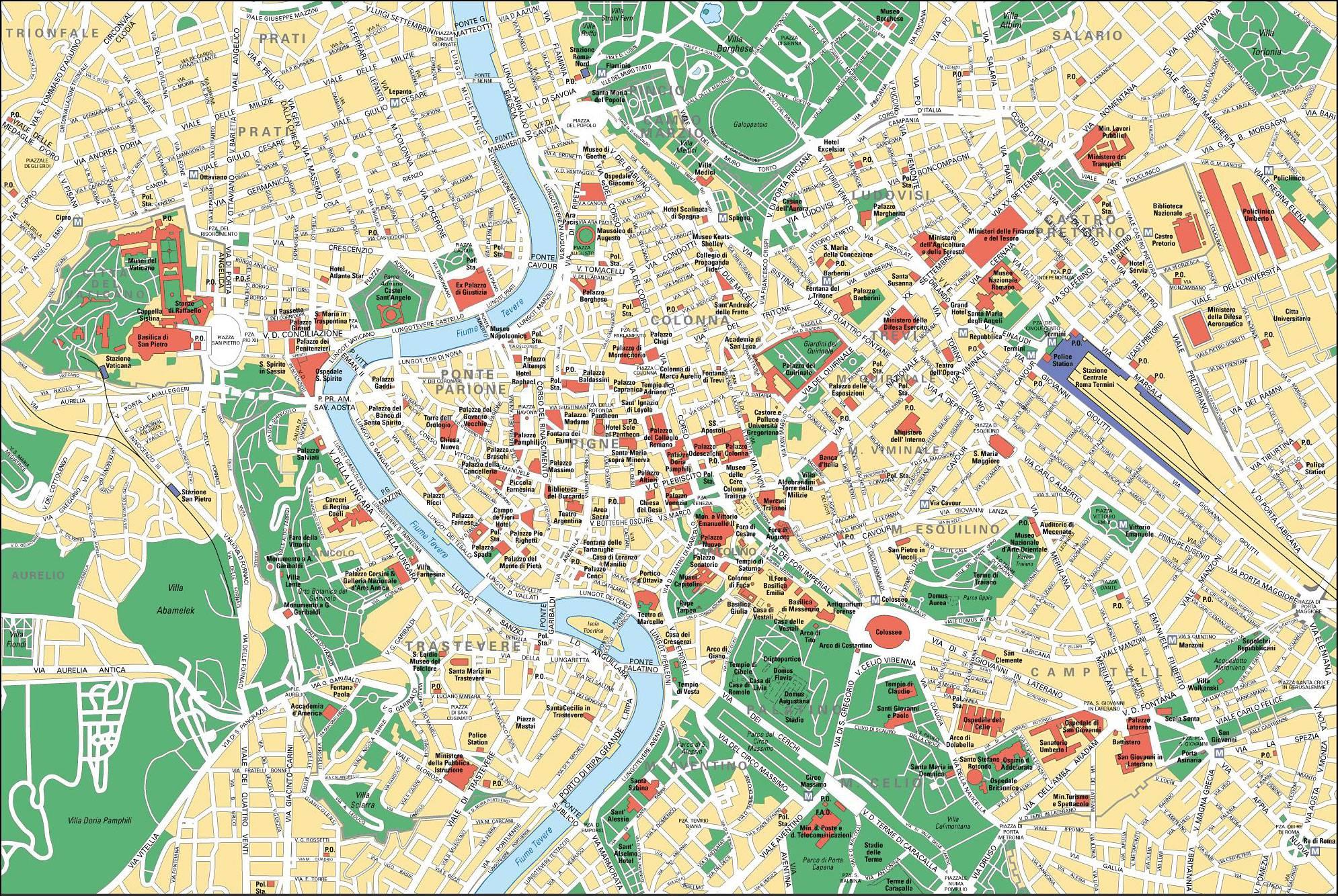 Carte touristique de Rome