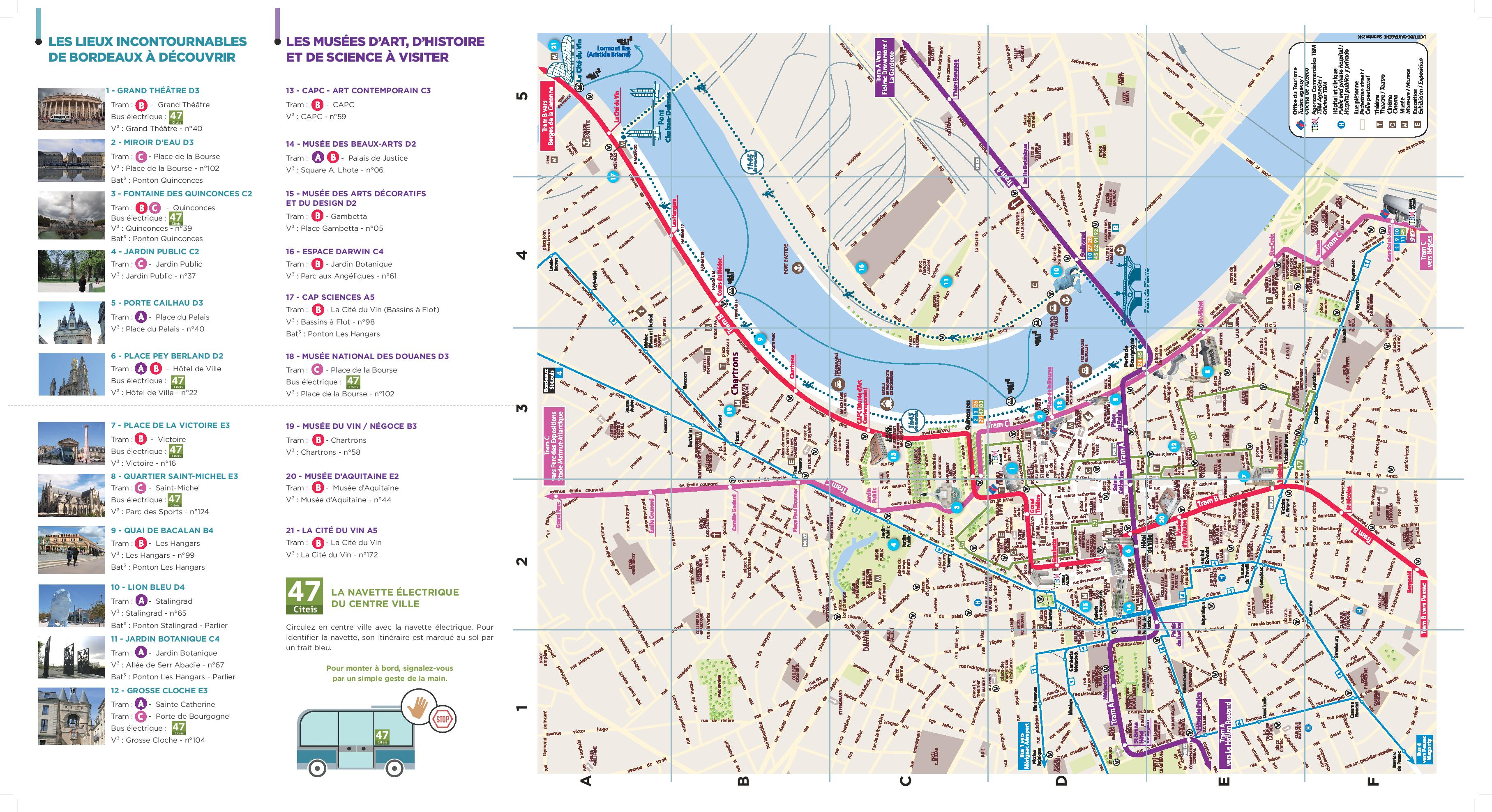 Carte touristique de Bordeaux