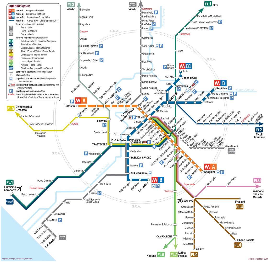 Carte du train de banlieu de Rome