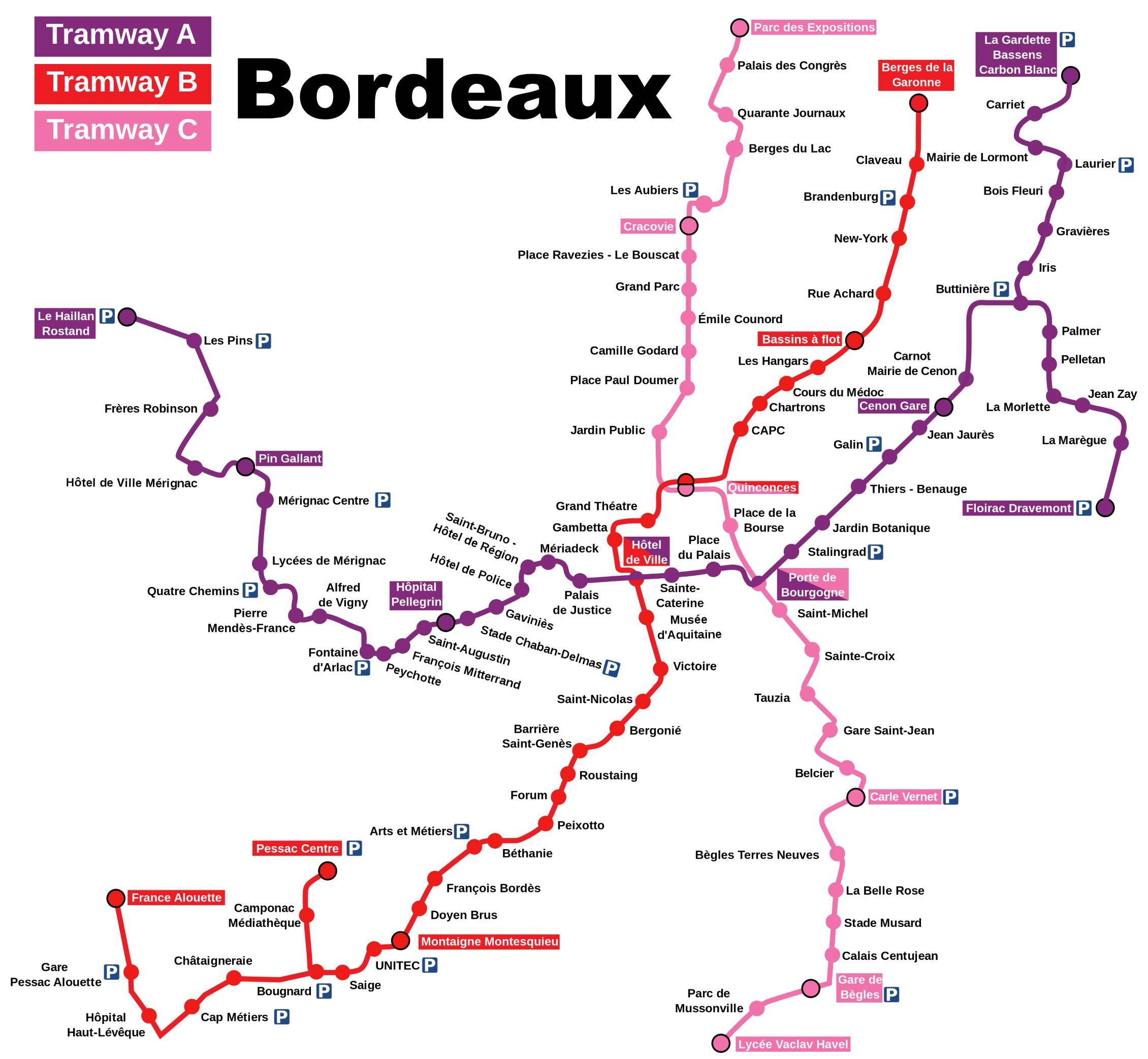 Carte du tramway à Bordeaux