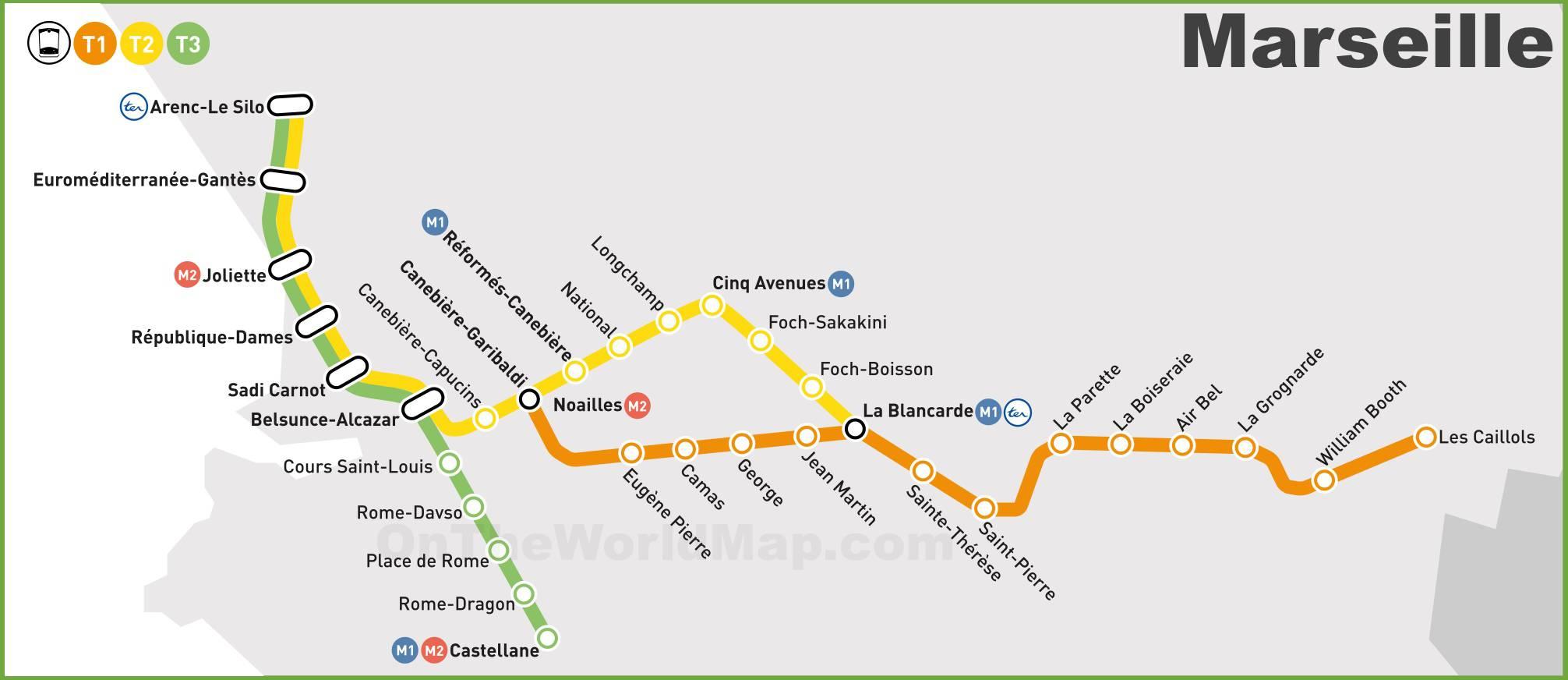 Carte du tramway de Marseille