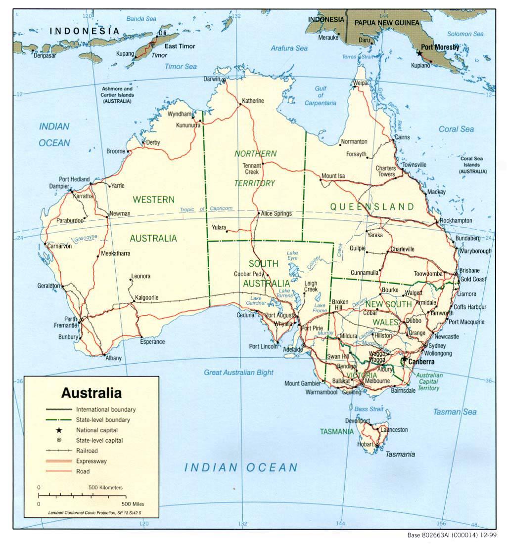 Carte des transports en Australie