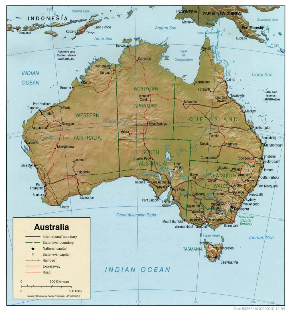 Carte des transports et du relief en Australie