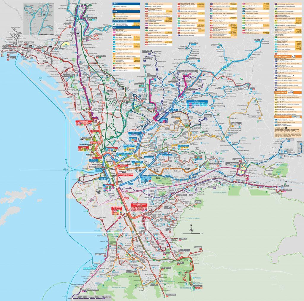 Carte des transports à Marseille (Bus, Métro...)