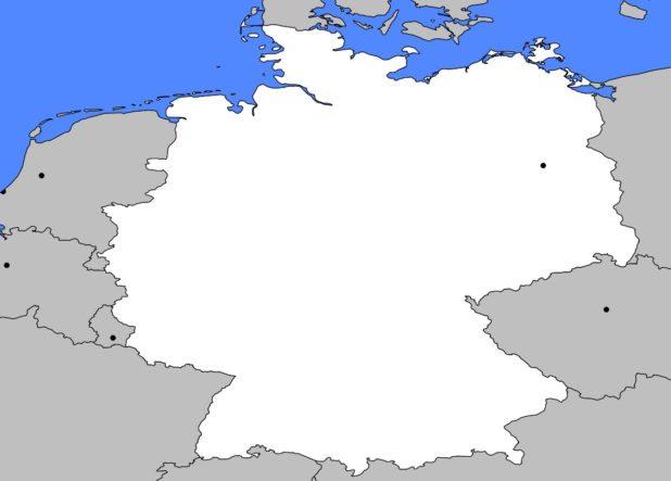 Carte vierge de l'Allemagne