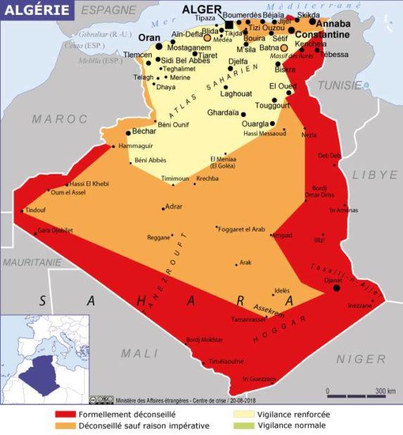 Carte des villes de l'Algérie