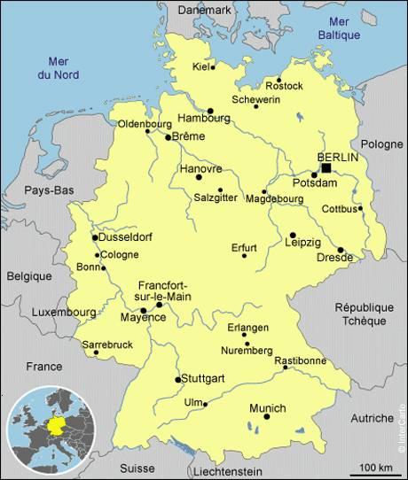 Carte des villes en Allemagne