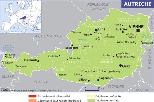 Carte des villes de l'Autriche