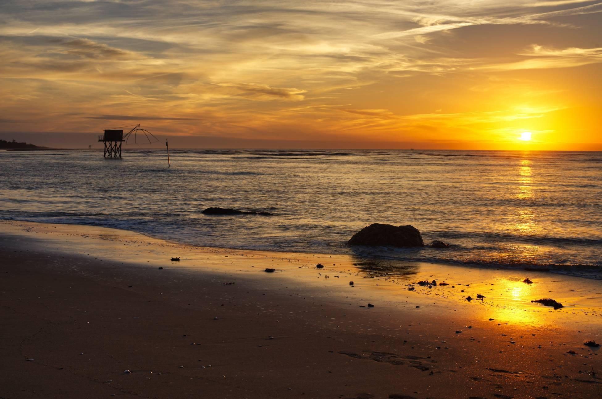 Coucher de soleil sur la plage de Saint-Brévin-les-Pins