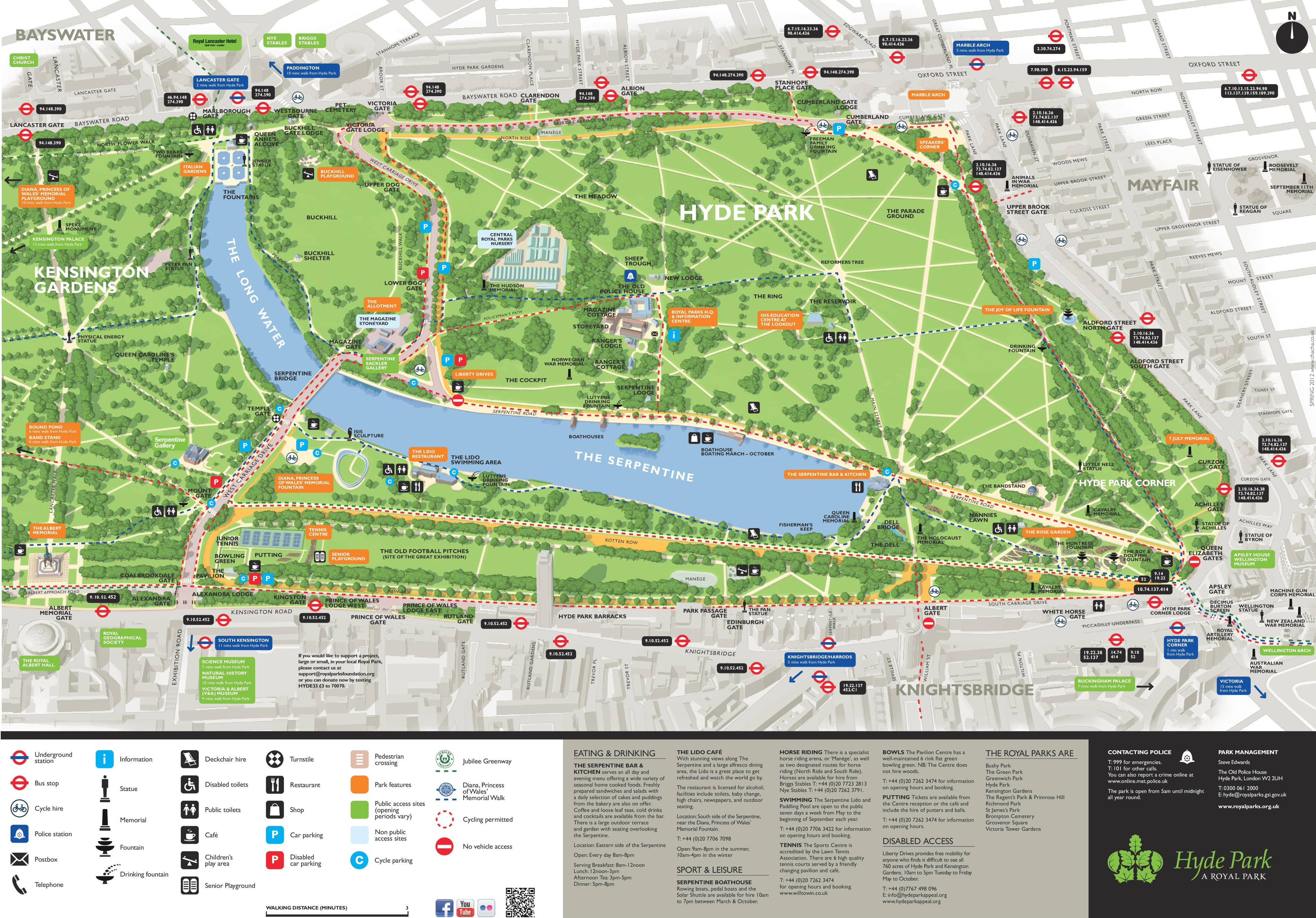 Carte de Hyde Park à Londres