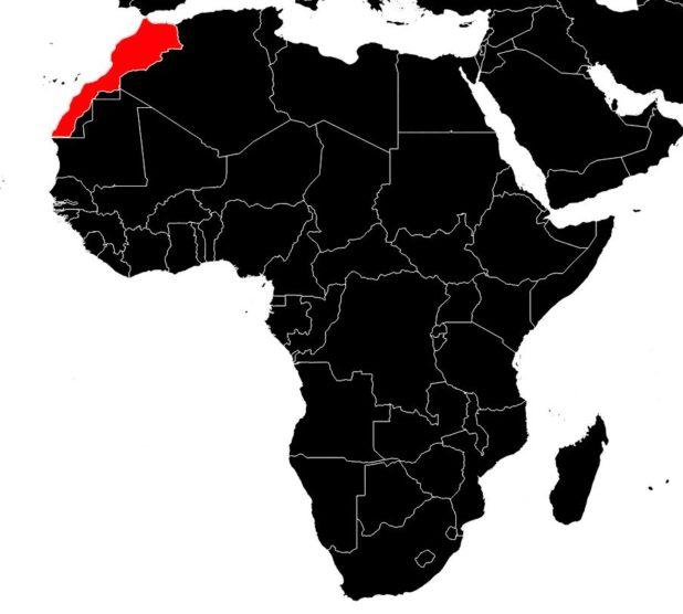 Maroc sur une carte d'Afrique