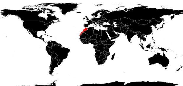 Maroc sur une carte du monde