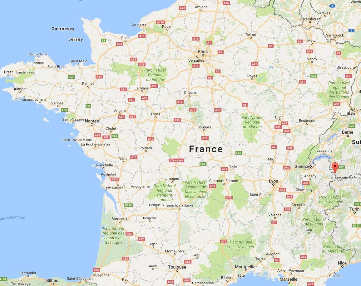 Où se trouve l'Aiguille du Midi sur une Carte