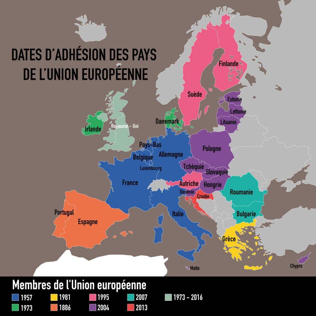 Carte des pays de l'Union Européenne