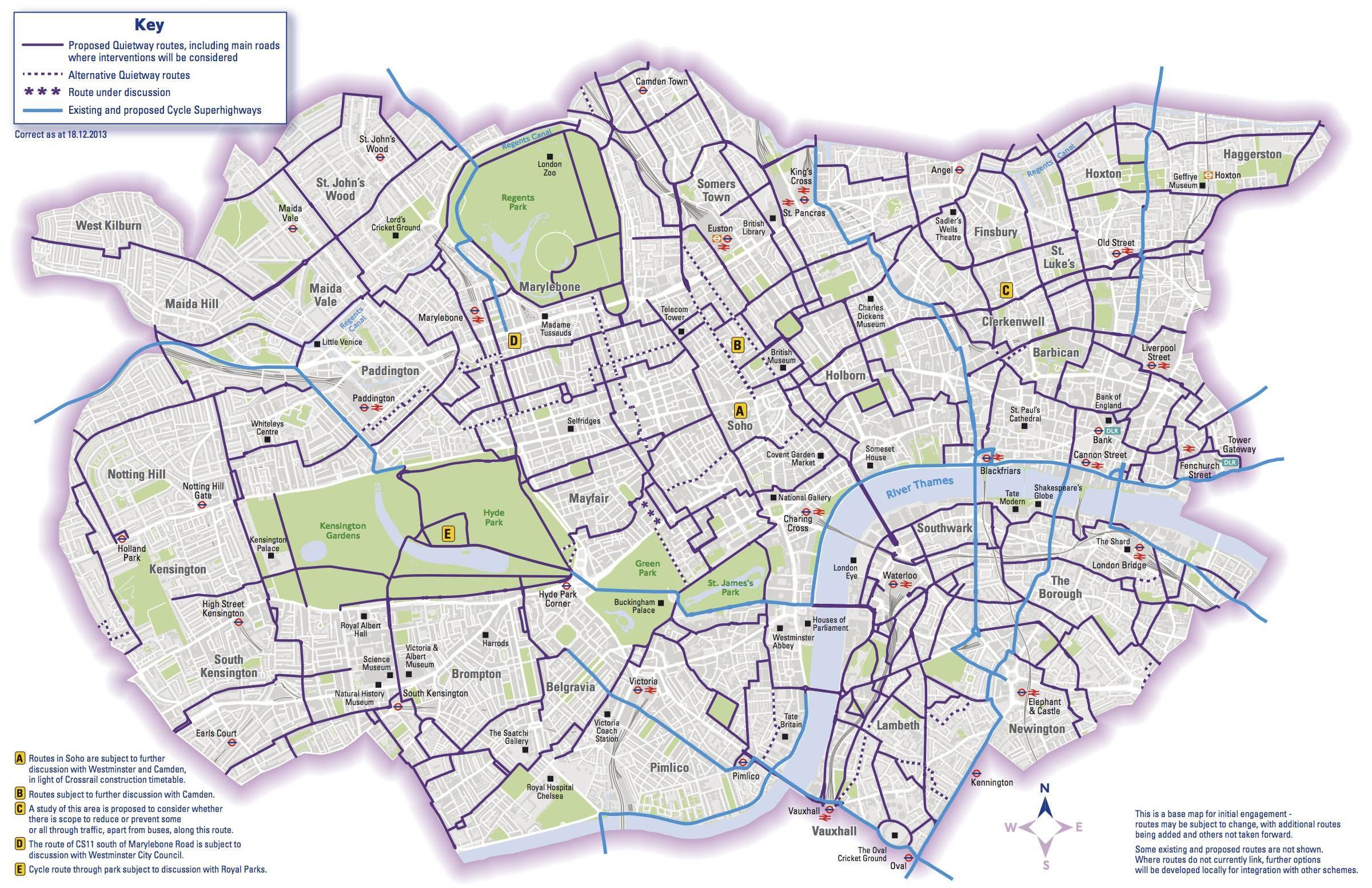 Pistes cyclables à Londres