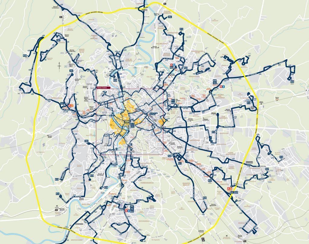 Plan du bus de nuit à Rome