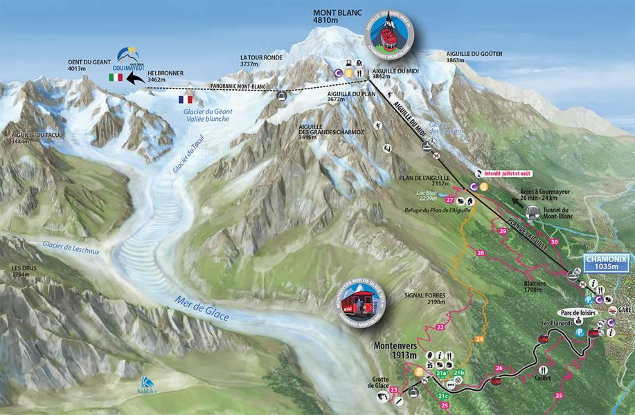Plan de Chamonix Mont Blanc vers l'Aiguille du Midi