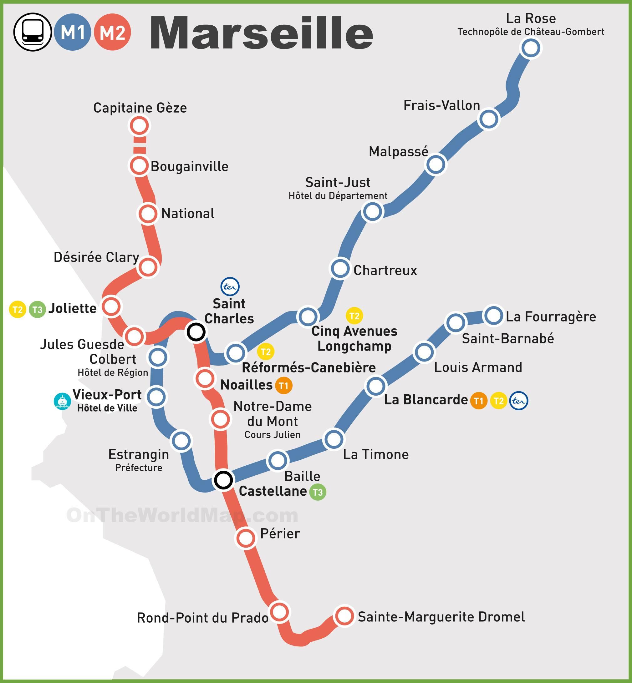 Plan du métro à Marseille