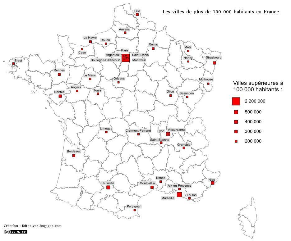Carte des villes de plus de 100 000 habitants en France